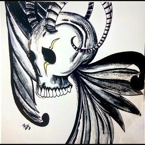 Lustre Glossy Horned & Wings Skull Art Print